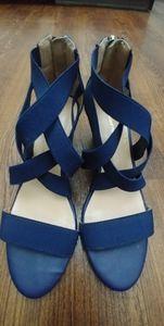 Liz Claiborne Navy Wedge Sandals